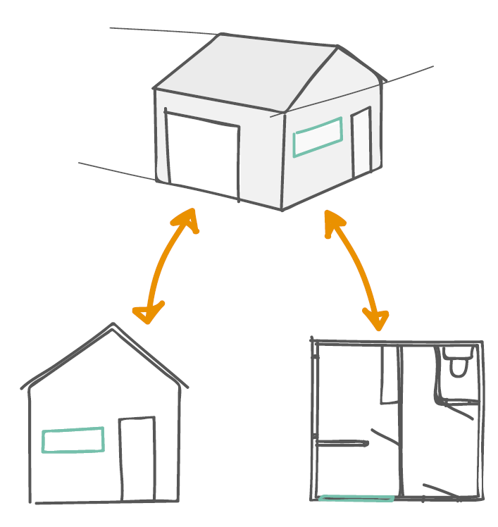 bouwinformatiemodel met hieruit afgeleid grondplan en gevelaanzicht